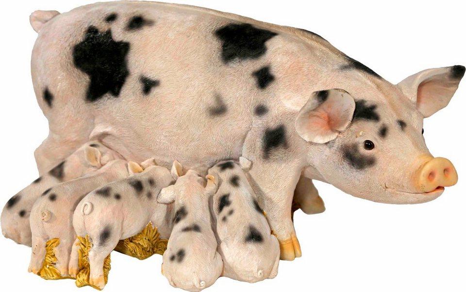 Home affaire Dekofigur »Schweine-Familie, weiß/schwarz gefleckt« in bunt