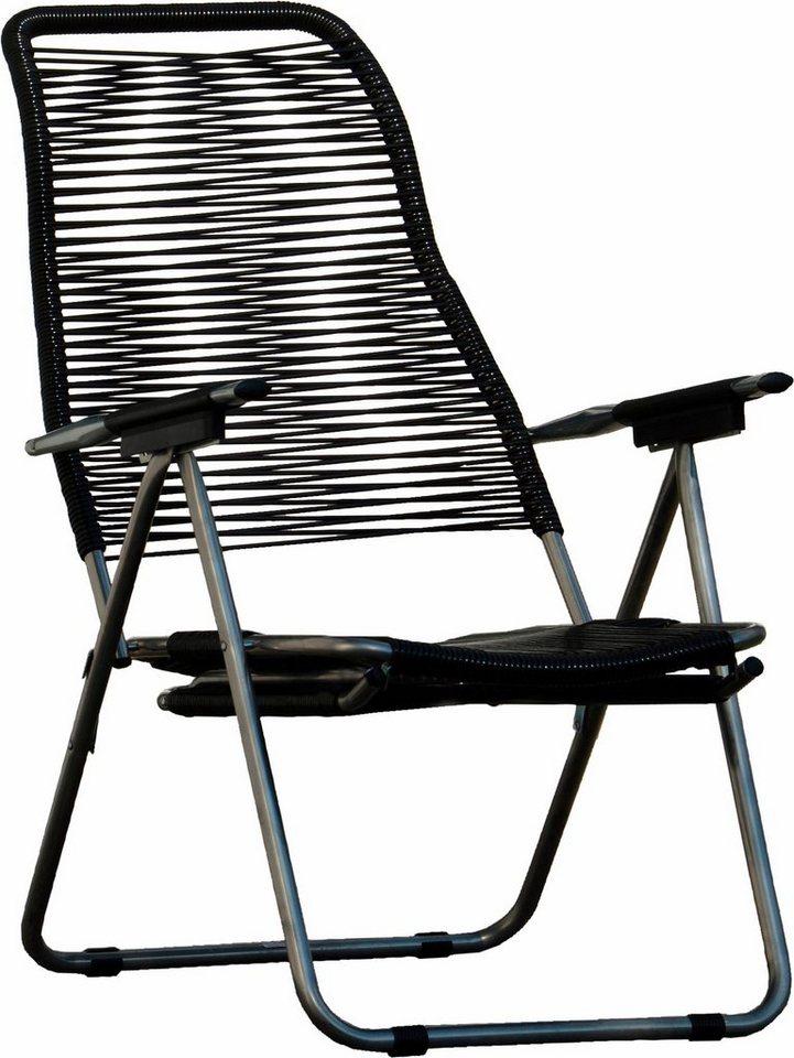 jankurtz Outdoor Liegestuhl »spaghetti« mit Fußteil und höhenverstellbarer Rückenlehne in schwarz