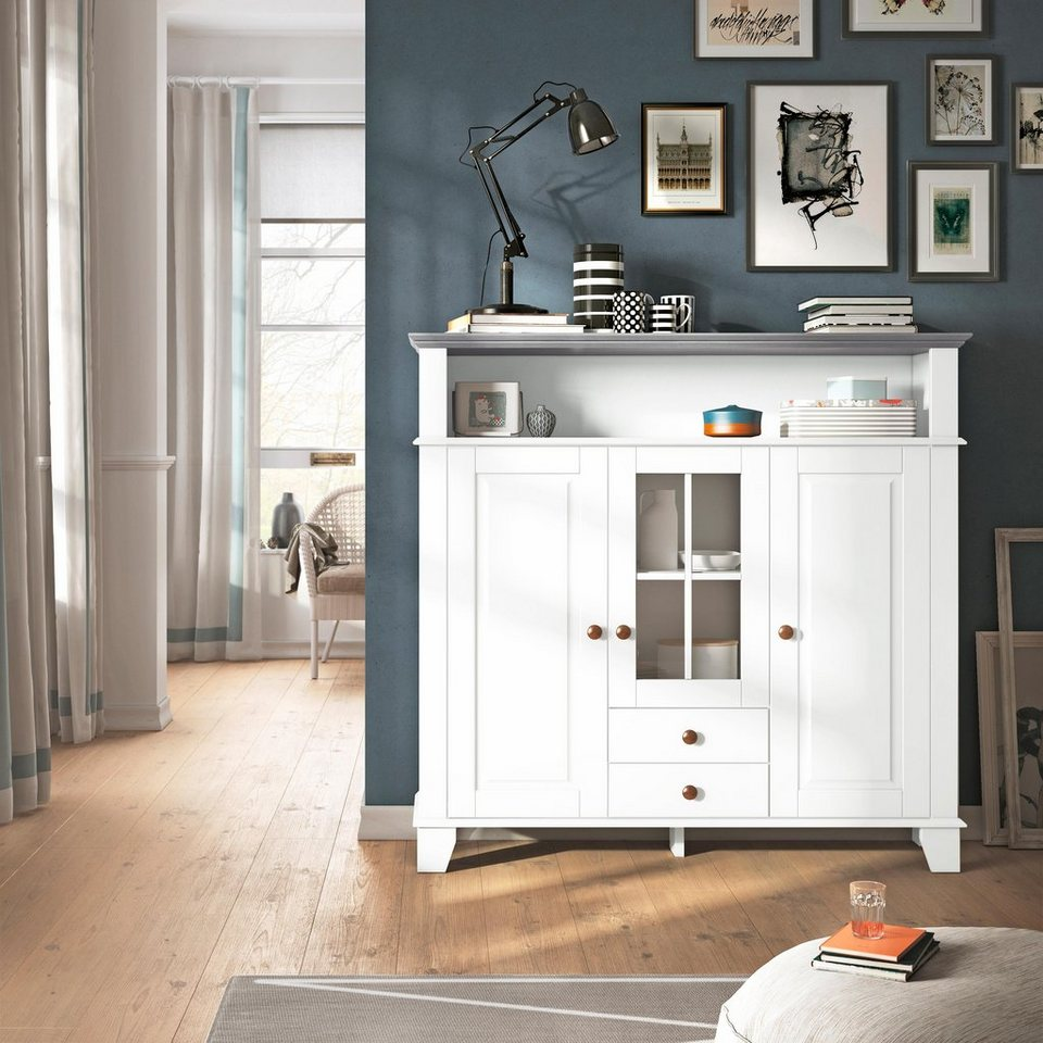 Home affaire Highboard »James«, Breite 125 cm in weiß/grau