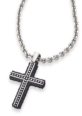 Save Brave Kette mit Anhänger, Kreuz mit Struktur, »Bjorn, SBN-BJORN« in silberfarben/schwarz