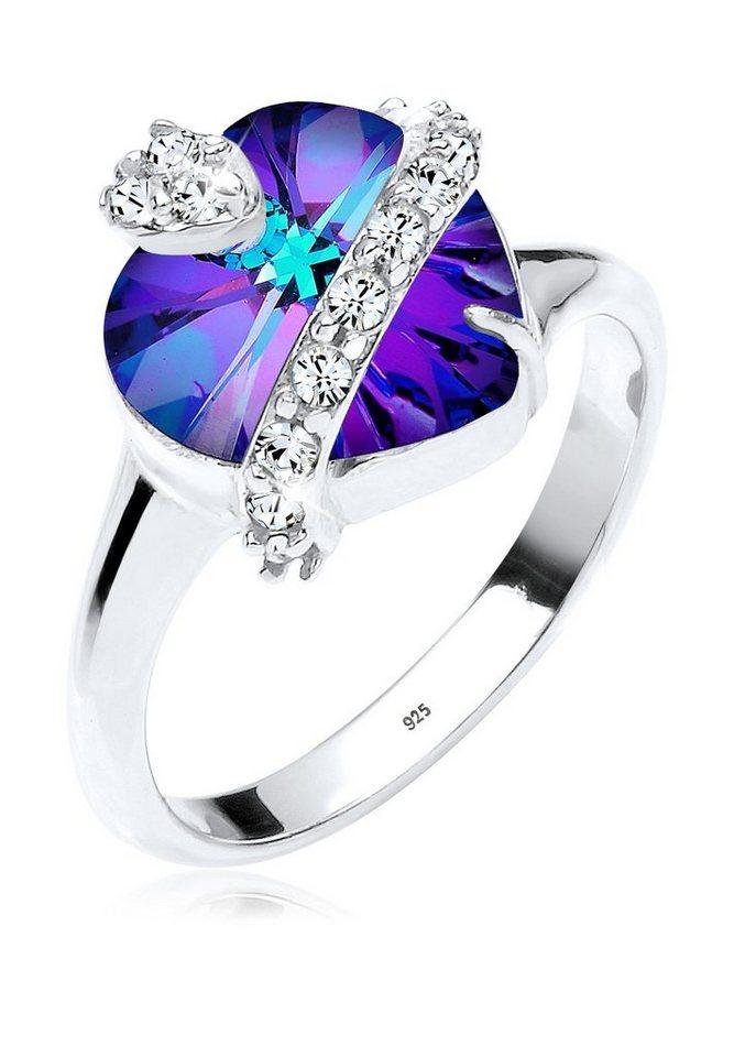 Elli Ring »Herz Swarovski® Kristalle 925 Silber« in Violett