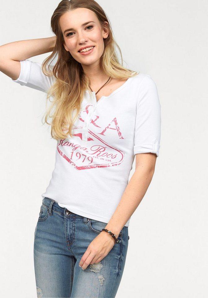KangaROOS Rundhalsshirt mit Knopfleiste und Front Print in weiß