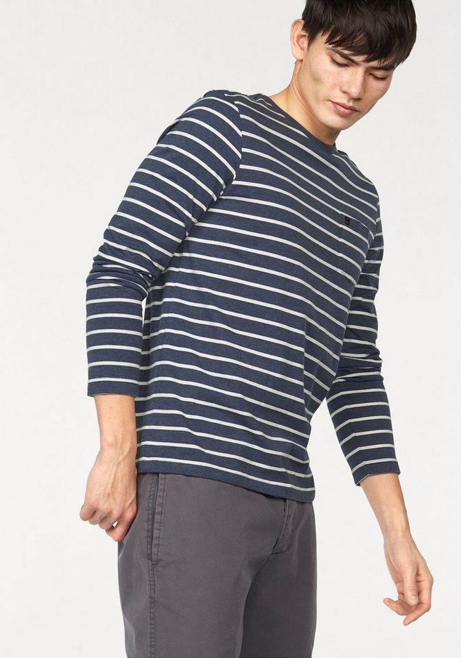 John Devin Longsleeve Gestreift mit Brusttasche in blau-meliert-offwhite-gestreift