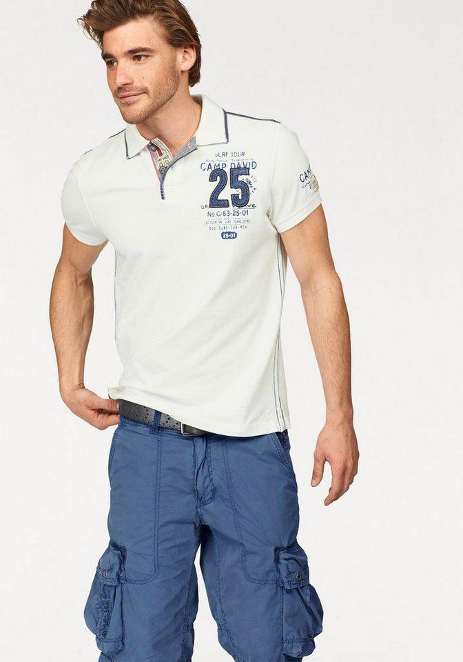 Camp David Poloshirt Pique Qualität in weiß