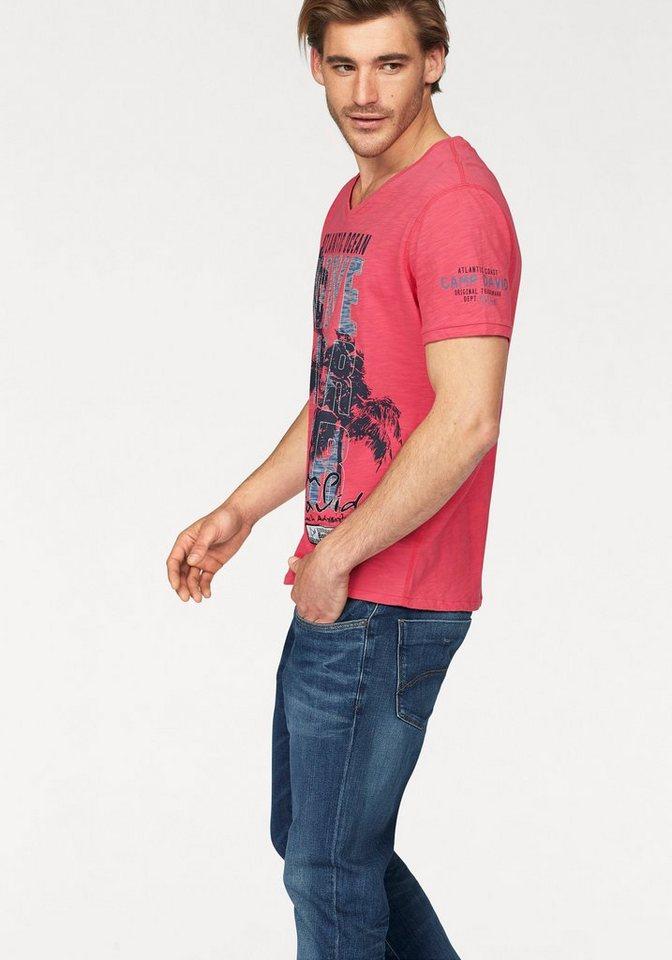 CAMP DAVID T-Shirt In Slub Yarn Optik in rot-meliert