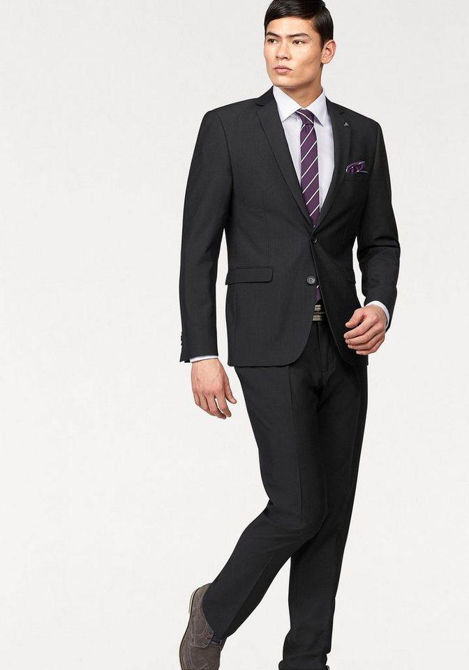 Bruno Banani Anzug (Set, 4 tlg., mit Krawatte und Einstecktuch) in schwarz