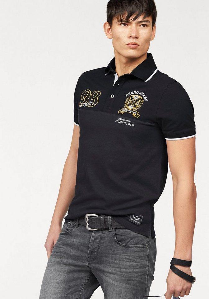 Bruno Banani Poloshirt »Piqué Qualität« in schwarz-anthrazit
