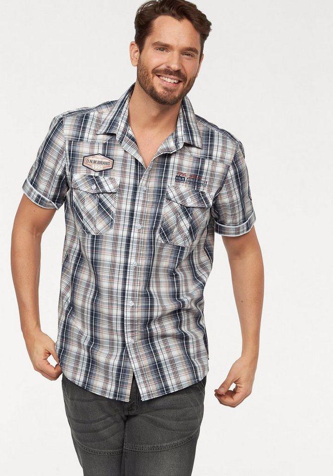 Man's World Kurzarmhemd im Karodesign in blau-weiß-kariert