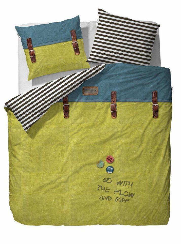 Wendebettwäsche, Covers & Co, »Backpack«, mit gestreifter Wendeseite in gelb