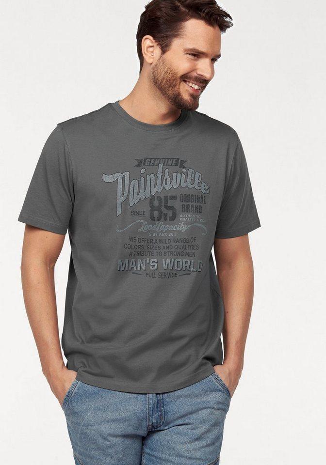 Man's World T-Shirt mit Print in dunkelgrau
