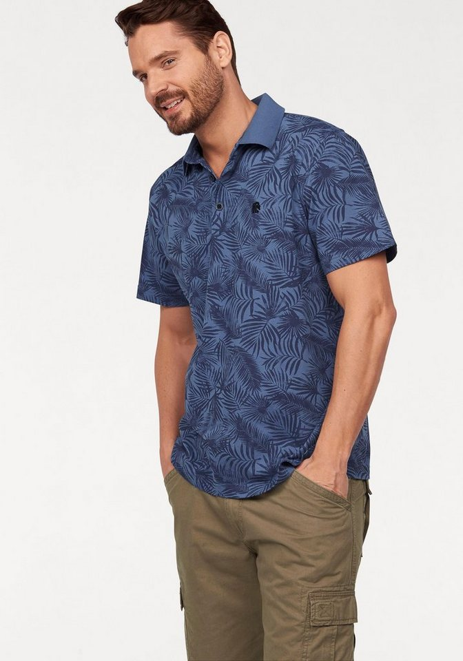 Man's World Poloshirt Alloverprint in blau
