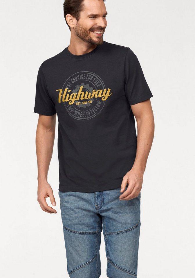Man's World T-Shirt mit Print in nachtblau
