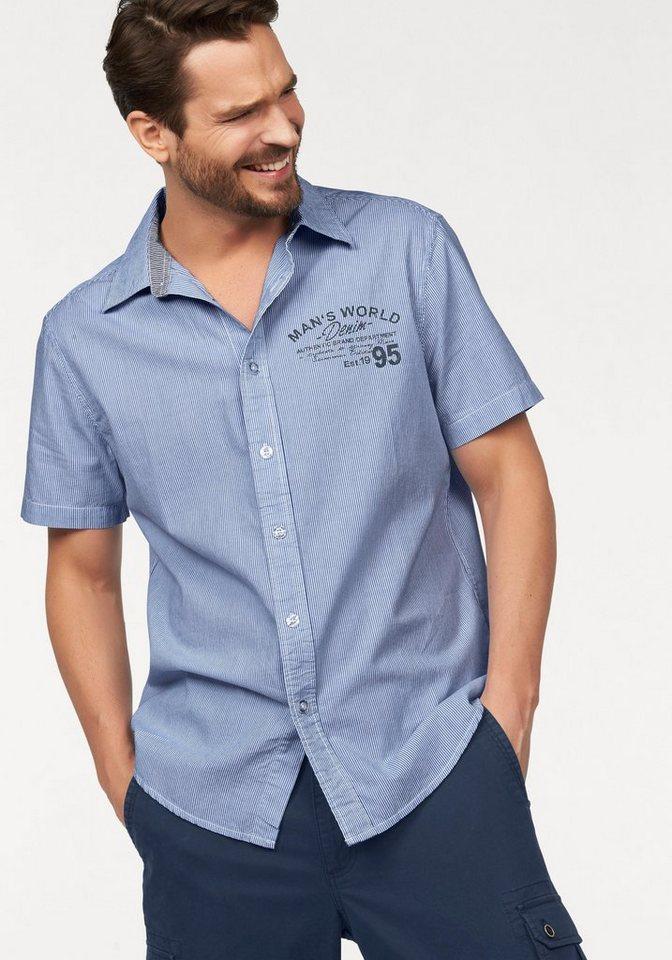 Man's World Kurzarmhemd mit Rückenprint in blau-weiß-gestreift