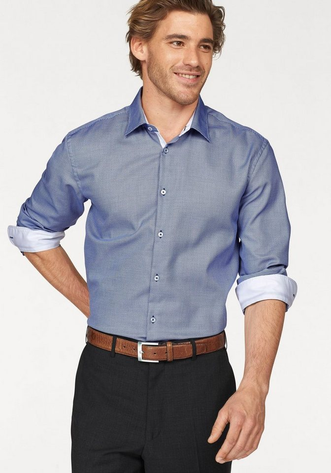 Class International Businesshemd in weiß-blau-gemustert