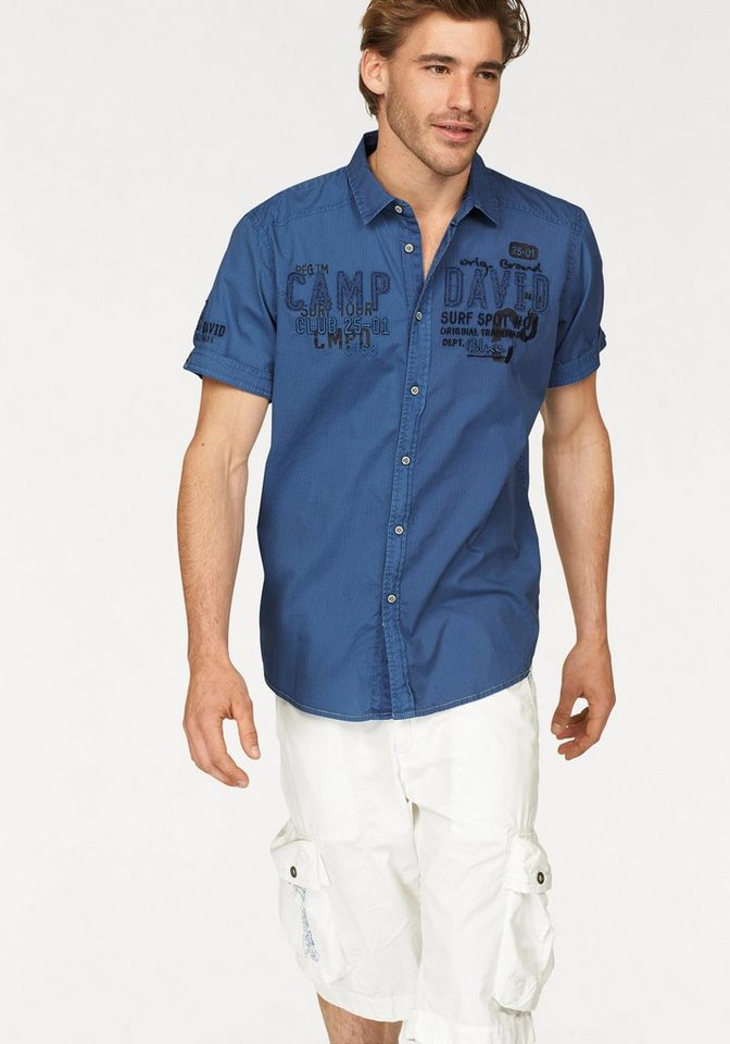CAMP DAVID Kurzarmhemd in blau