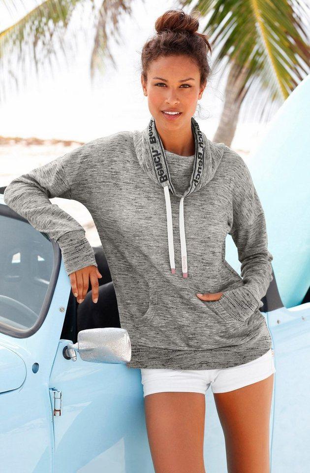 Bench Sweatshirt mit Schalkragen in grau meliert