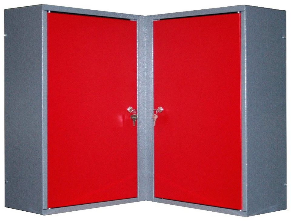 Eck-Hängeschrank »2 Türen, 4 Einlegeböden, in rot« in rot