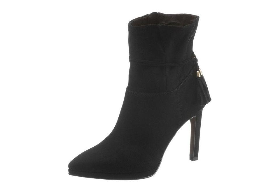 Tamaris High-Heel-Stiefelette mit Zierband in schwarz