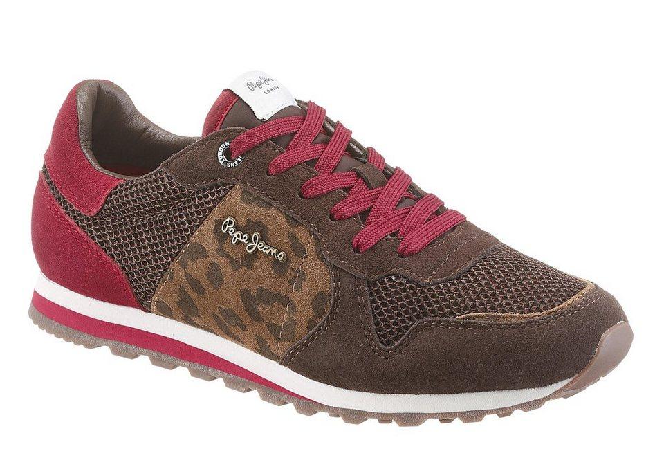 Pepe Jeans Sneaker mit Animal-Print in braun-rot