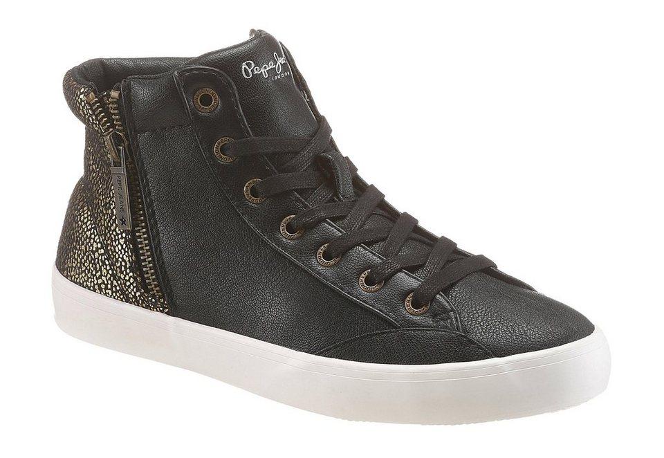 Pepe Jeans Sneaker in schwarz-goldfarben