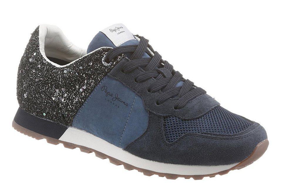 Pepe Jeans Sneaker in funkelnder Optik in blau-silberfarben