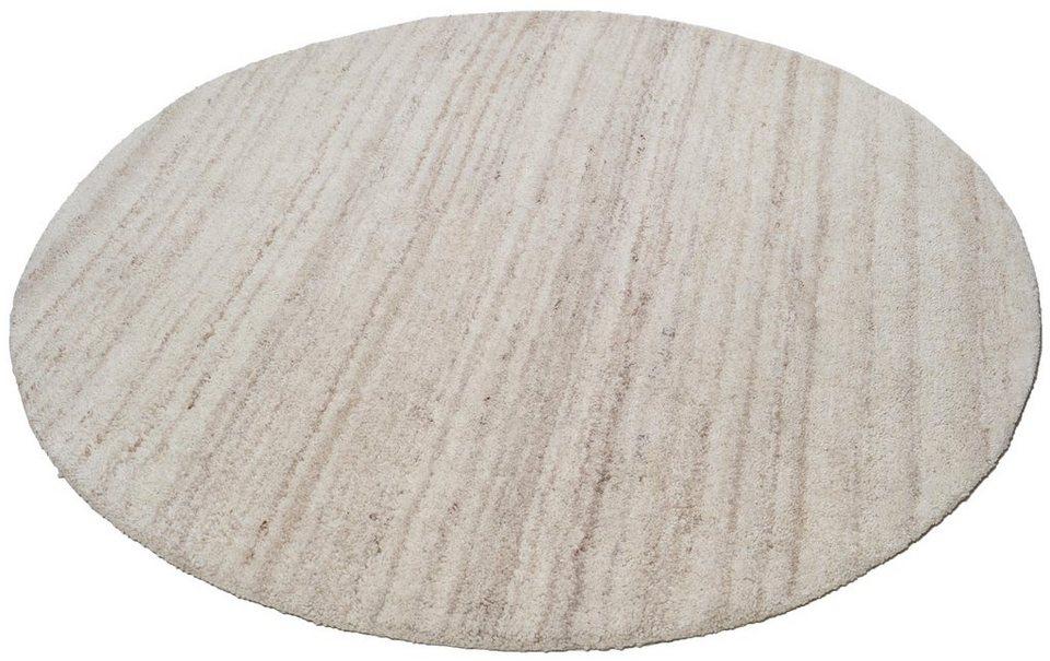Teppich »Royal Berber Uni«, Theko, rund, Höhe 18 mm in natur-grau