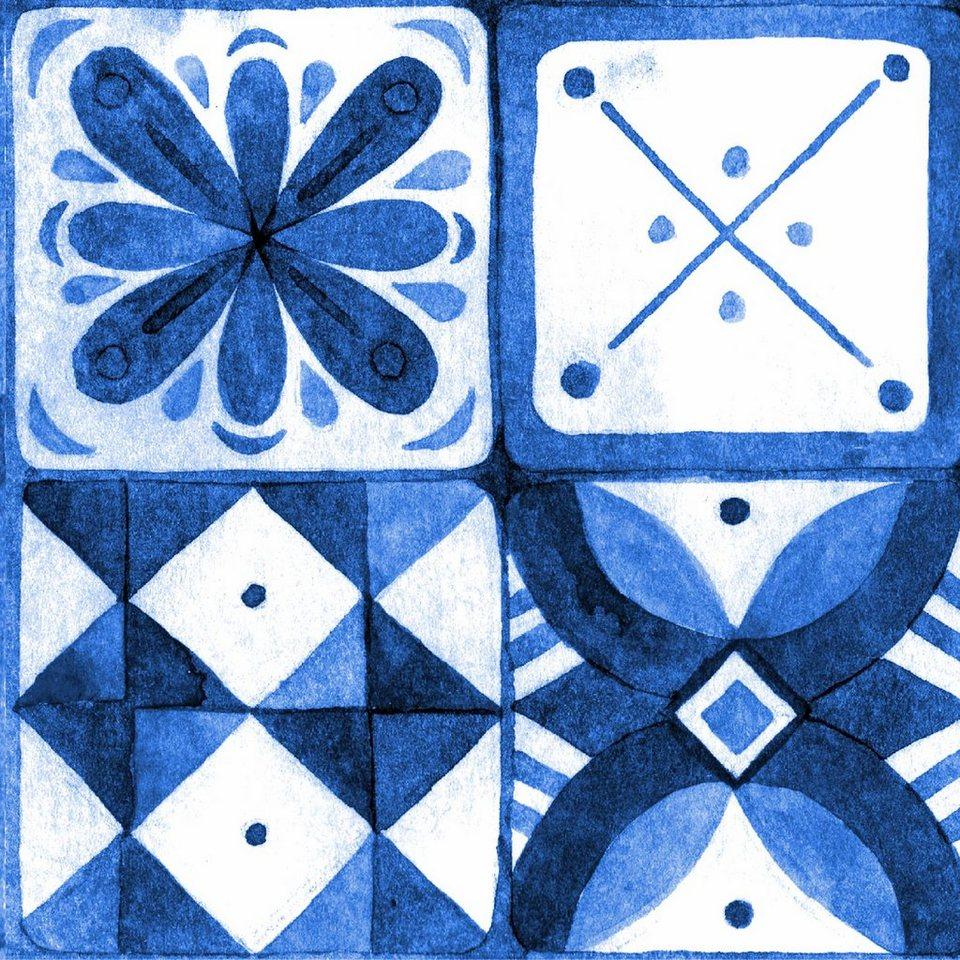 Home affaire Fliesenaufkleber »graphisch/floral«, 12x 15/15 cm in weiß/blau
