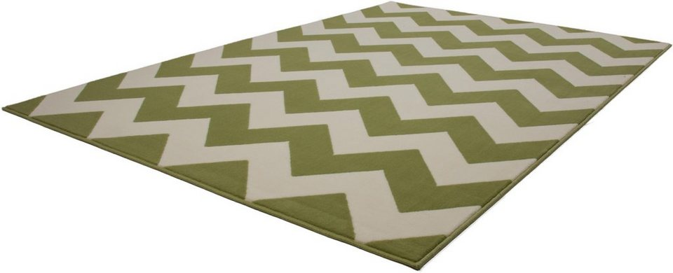 Teppich, Kayoom, »Manolya 2095«, Zickzack-Muster, gewebt in Grün