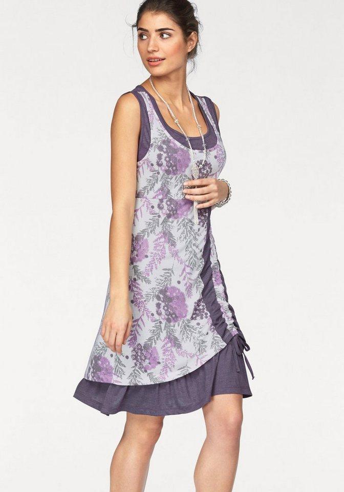 Boysen's Jerseykleid im Lagenlook mit Raffung in lila-bedruckt