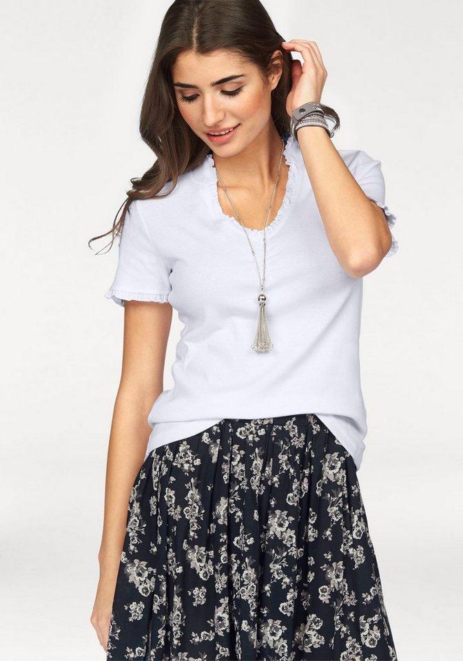 Boysen's T-Shirt mit feiner Rüschenkante in weiß