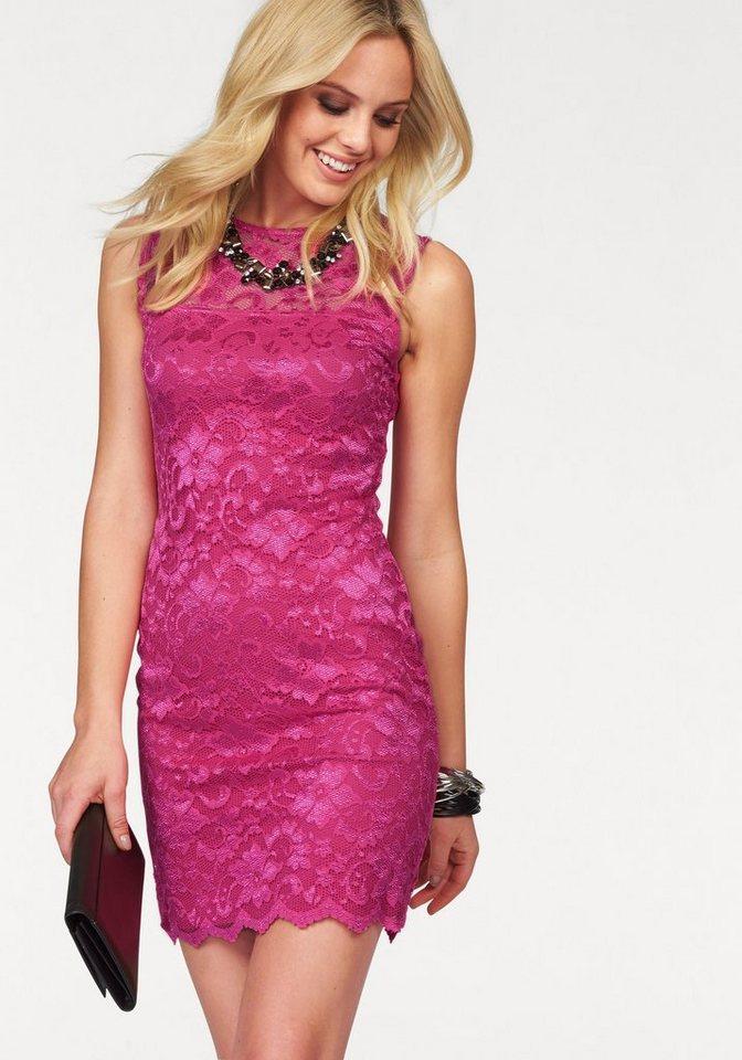 Melrose Spitzenkleid mit leichtem Glanz in pink