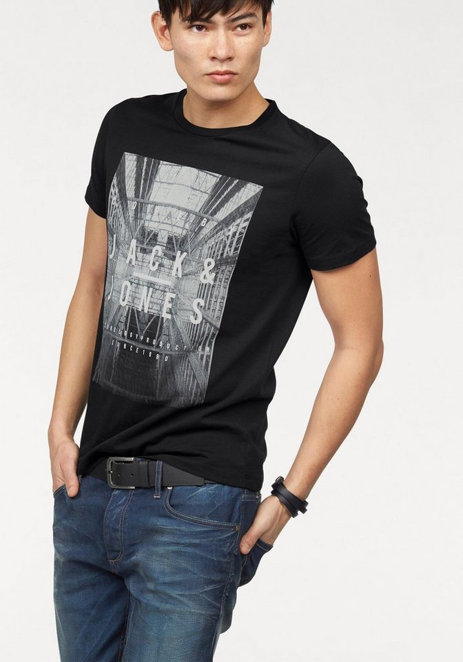 Jack & Jones T-Shirt mit urbanem Fotoprint in schwarz