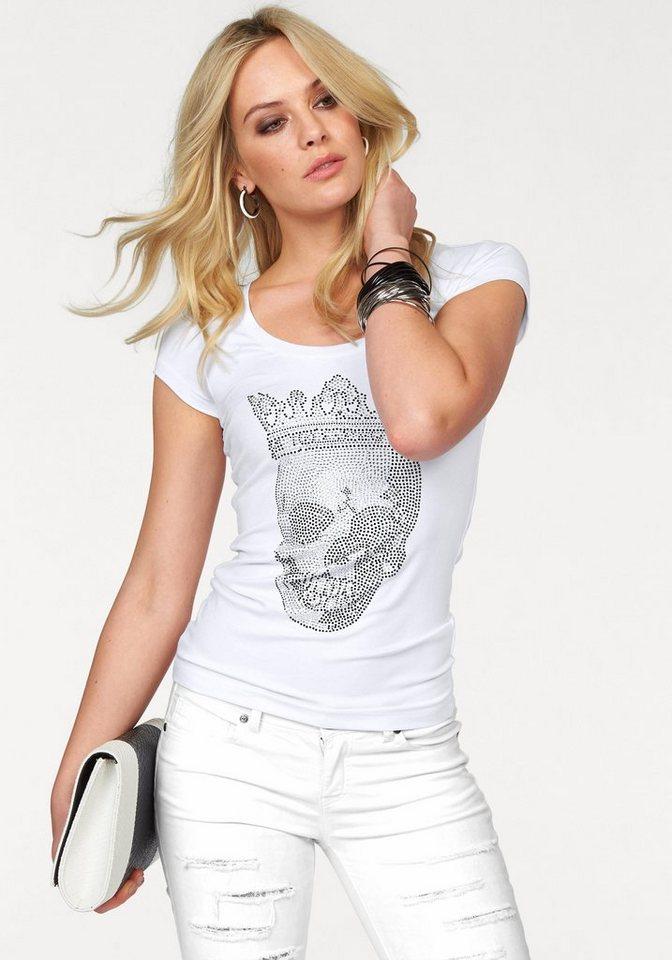 Melrose Rundhalsshirt mit Strass-Totenkopf in weiß