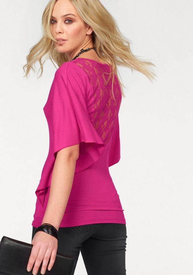 Melrose Rundhalsshirt mit Spitzeneinsatz am Rücken in pink