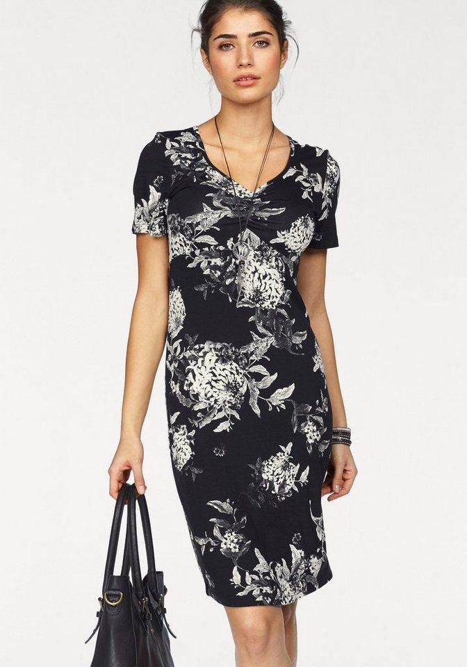 Boysen's Jerseykleid mit Blumendruck in schwarz-bedruckt