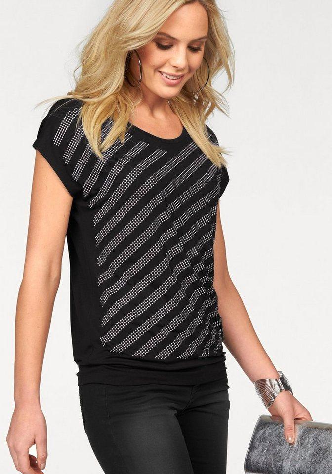 Melrose Rundhalsshirt mit Glitzer-Streifen in schwarz