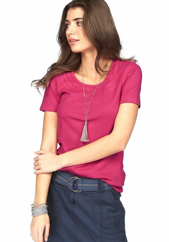Boysen's T-Shirt mit Glitzersteinchen in pink