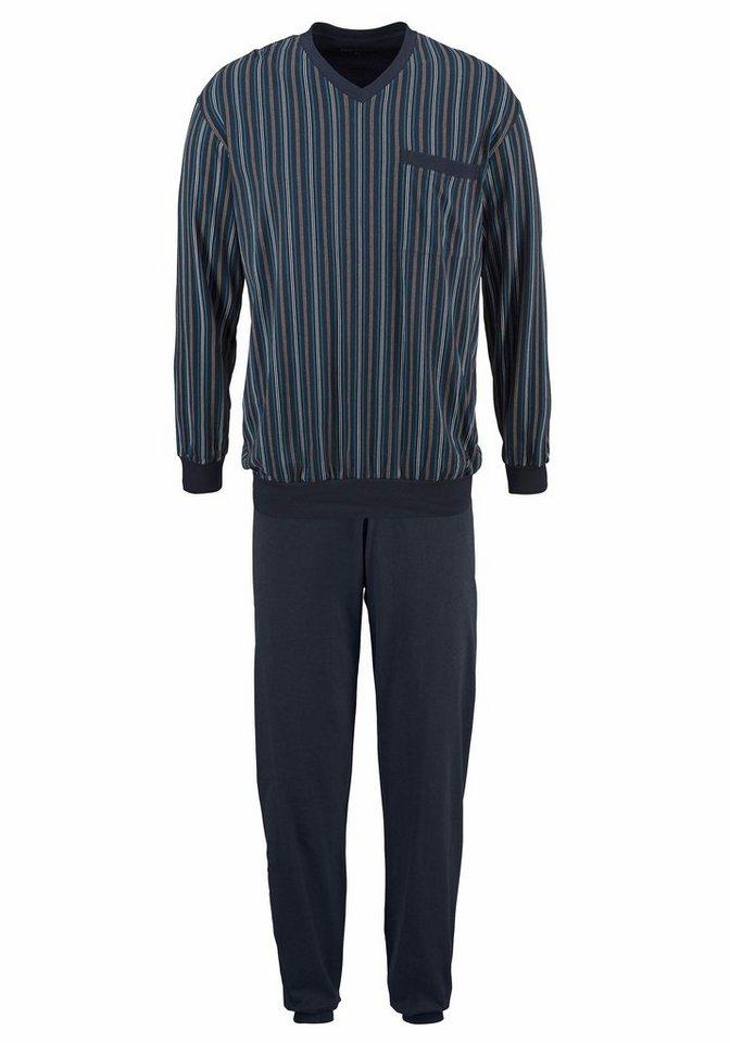 Schiesser Pyjama in dunkelblau/gestreift