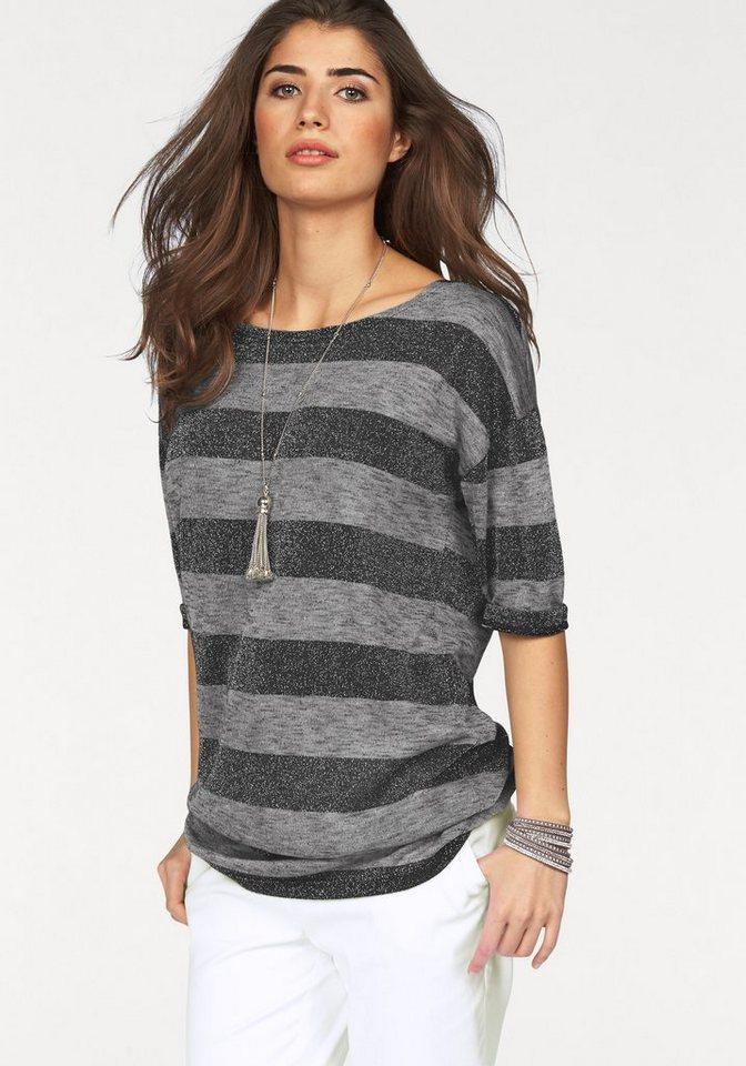 Boysen's Longshirt mit Streifen und Glanzgarnen in grau-gestreift