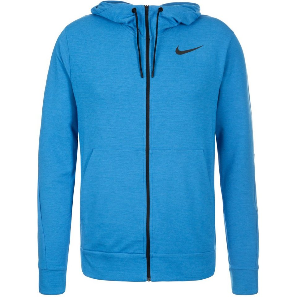 NIKE Dri-FIT Fleece Trainingskapuzenjacke Herren in hellblau / schwarz