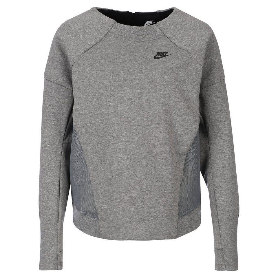 Nike Sportswear Tech Fleece Mesh Crew Sweatshirt Damen in grau / schwarz