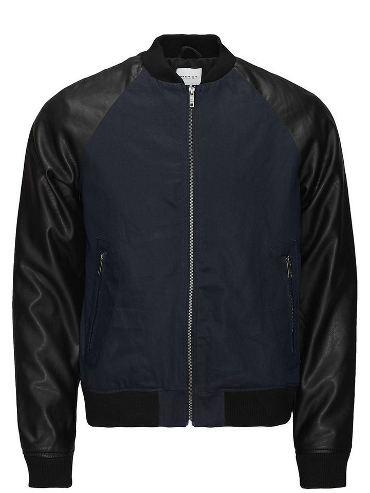 Jack & Jones Lederimitatärmel Blouson- Jacke in Dark Navy