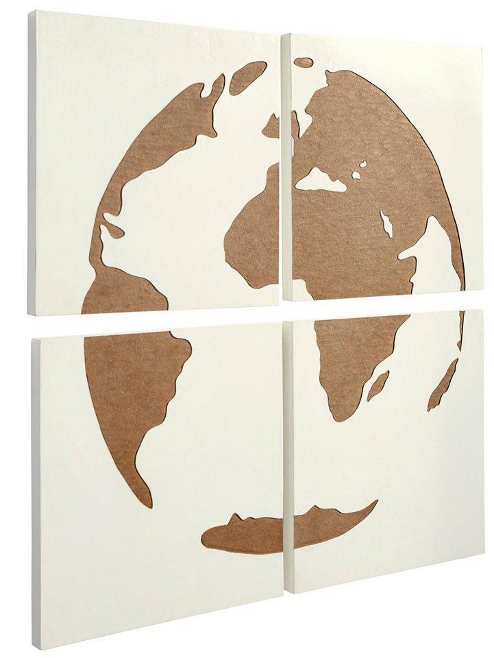 Wand-Deko Globus in weiß/natur