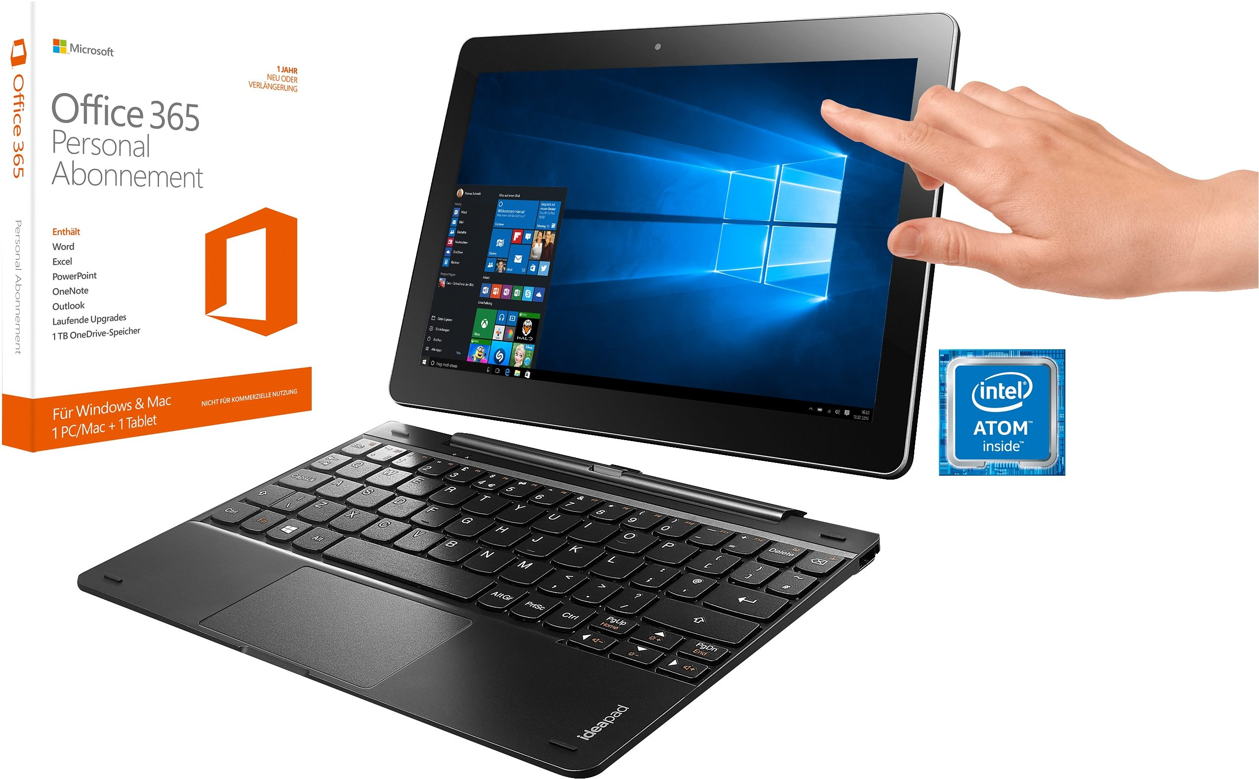 Lenovo Miix 300-10IBY Tablet-PC, Microsoft® Windows® 10 Home (32Bit), Intel Atom Z3735F