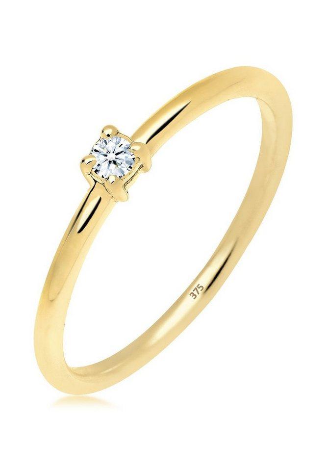 DIAMORE Ring »Verlobungsring Diamant 0.06 ct. 375 Gelbgold« in Weiß