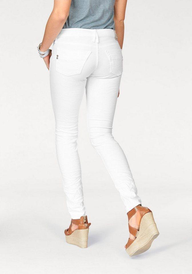 Herrlicher Slim-fit-Jeans »Touch« mit Crinkle-Effekt in weiß