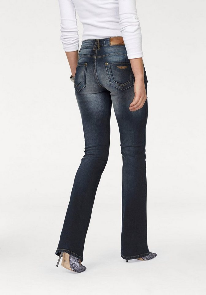 Arizona Bootcut-Jeans mit Shape-Effekt in darkblue-used