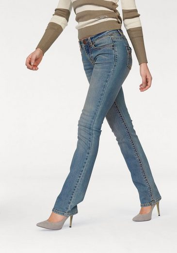Arizona Straight Jeans Coutures Contrastées, Mi-taille