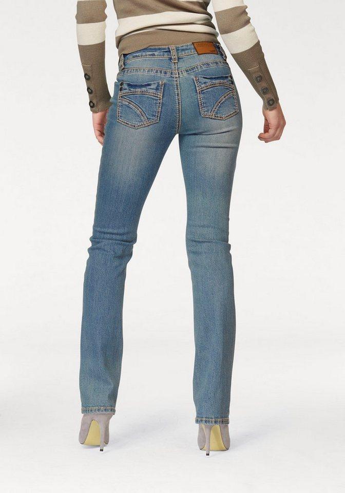 Arizona Gerade Jeans »Kontrastnähte« in dirty-blue-used