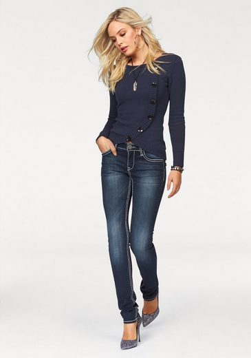 Arizona Slim-fit Jeans With Contrasting Seams And Flap Pockets, Low Waist